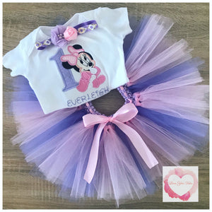 Embroidered Minnie pink & lavender tutu set