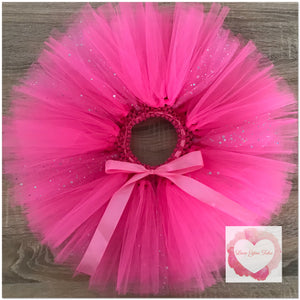 Shocking pink & sequin tulle short Tutu skirt