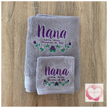 Load image into Gallery viewer, Embroidered personalised Nanna towel set