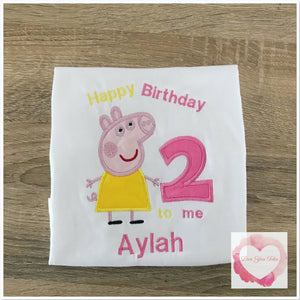 Embroidered Peppa Birthday design