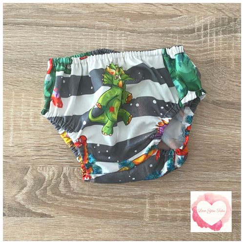 Christmas Dinosaur nappy cover size 00 -ready to ship