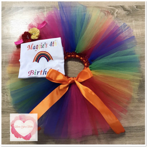 Embroidered Rainbow tutu set