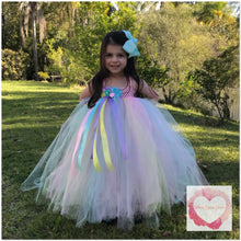 Load image into Gallery viewer, Pastel full length girls Tutu dress 1/4 bodice