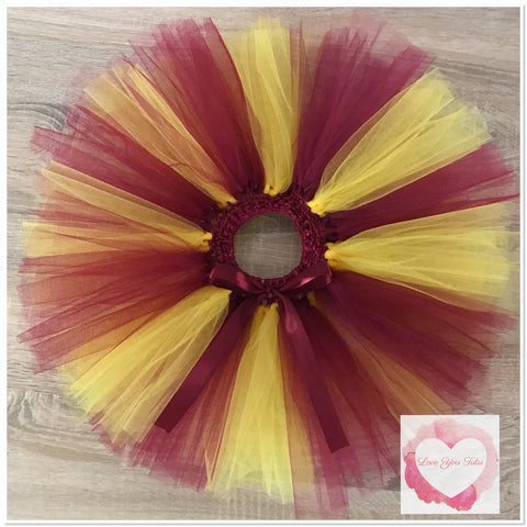 Burgundy & gold short Tutu skirt