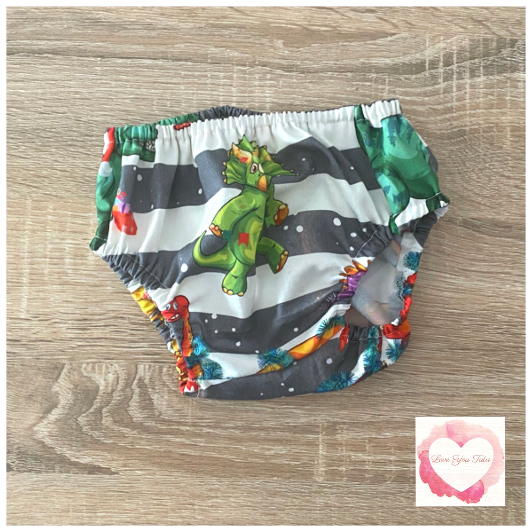 Christmas Dinosaur nappy cover size 000 -ready to ship