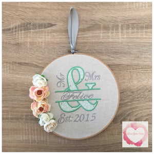 Mr & Mrs Wedding embroidered hanging hoop