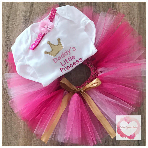 Embroidered Daddy's little princess tutu set