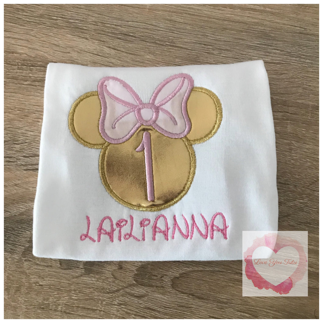 Embroidered Minnie Mouse head (gold) design