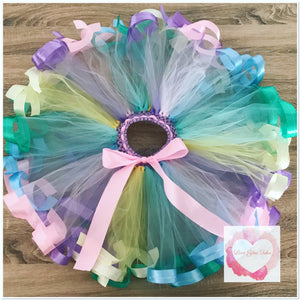 Pastel Ribbon trimmed short Tutu skirt