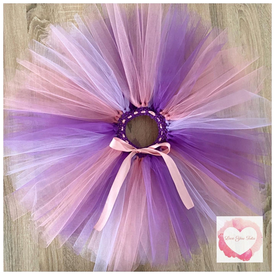 Lavender purple and Dusty pink short Tutu skirt
