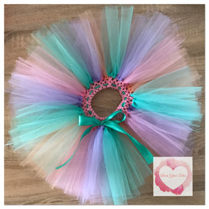 Pink, dark mint, peach & lavender short Tutu skirt