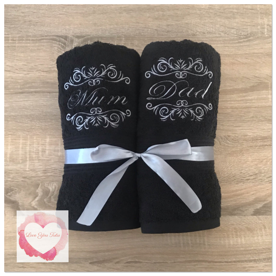 Embroidered Mum & Dad towel set