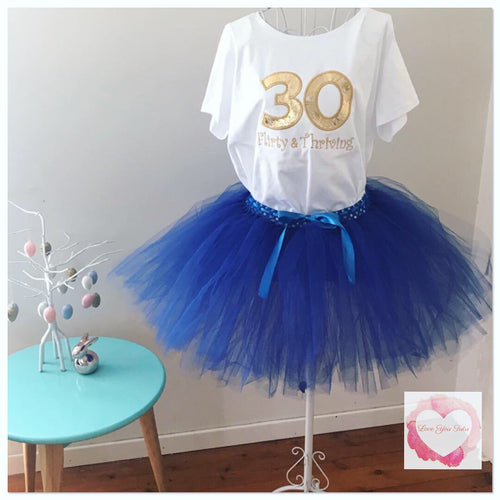 Adult Blue embroidered birthday tutu set
