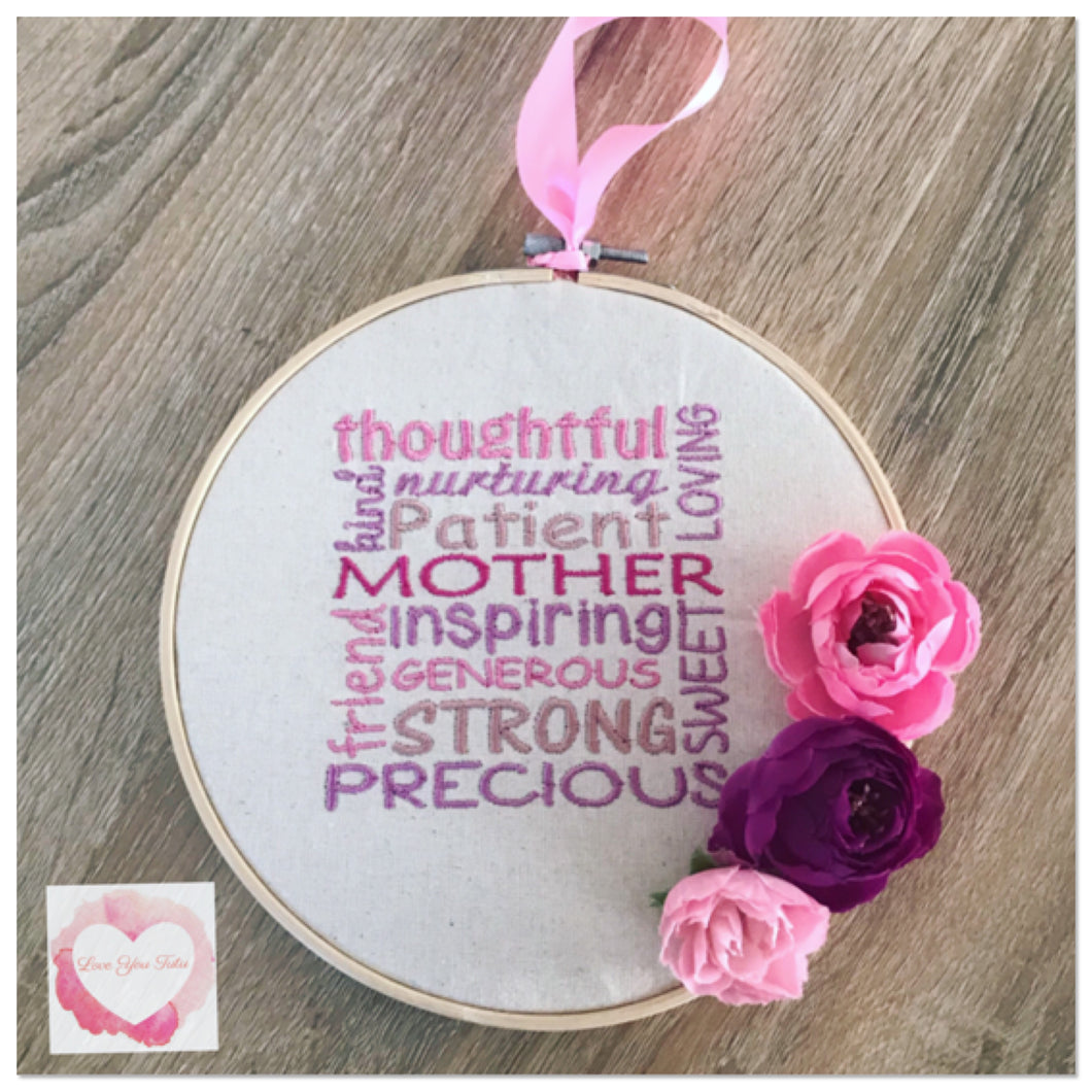 Mother embroidered hanging hoop