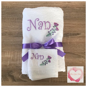 Embroidered personalised Nan towel set