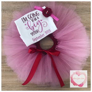 Embroidered Big sister announcement tutu set