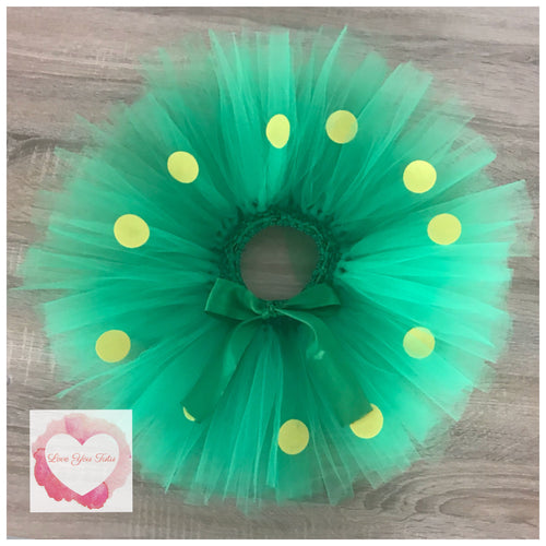 Green and yellow Dotty short Tutu skirt