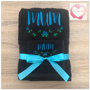 Embroidered personalised Mum towel set