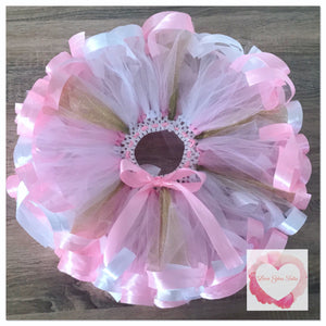 White, pink and gold glitter ribbon trimmed short tutu skirt