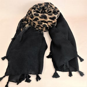 Adorn Bordered Leopard Tassel Scarf - Black