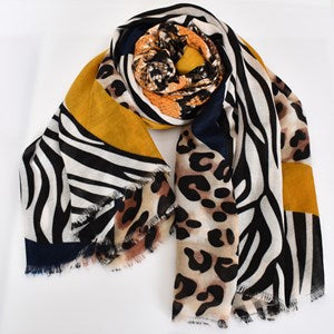 Adorne Animal Print Clash Rectangular Scarf - Mustard