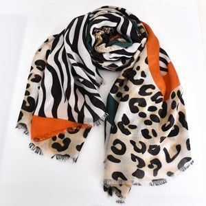 Adorne Animal Print Clash Rectangular Scarf - Tangerine