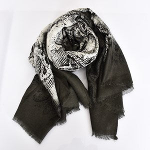 Adorne Bordered Reptile Print Lightweight Scarf - Black & White