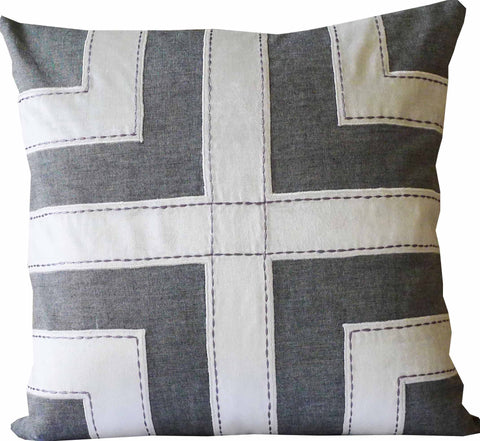 Kussani Cushion Cover Grey Grid 50cm x 50cm K448