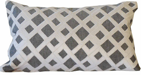Kussani Cushion Cover Grey Trellis 30cm x 50cm K462