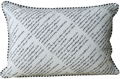 Kussani Cushion Cover Black on White Calligraphy Front 40cm x 50cm K120
