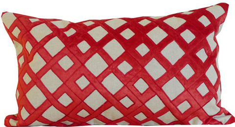 Kussani Cushion Cover Red on Natural Trellis 30cm x 50cm K404