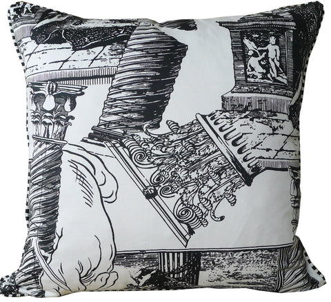 Kussani Cushion Cover Black on White Tradition Front 50cm x 50cm K119