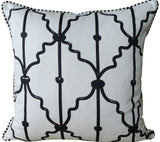 Kussani Cushion Cover Black on White Tradition Rear 50cm x 50cm K119