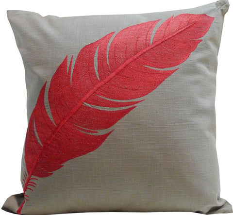 Kussani Cushion Cover Taupe Red Feather 45cm x 45cm K371