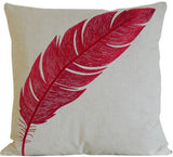 Kussani Cushion Cover Red Natural Feather 45cm x 45cm K407