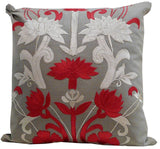 Kussani Cushion Cover Red on Taupe Wallington 45cm x 45cm K379