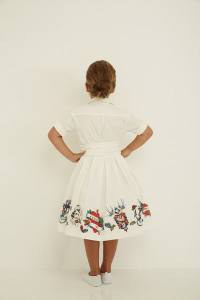 Charlie Dress - Fifties Tattoo Print