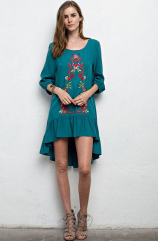 """Jessica Floral Embroidered Hi-Low Tunic"""