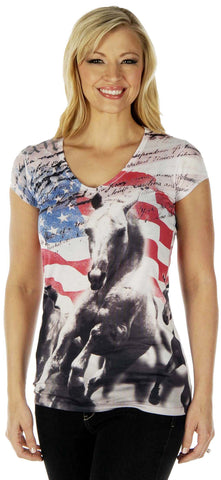Patriotic Horse Ladies Top