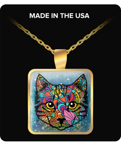 Colorful Cat Gold Necklace