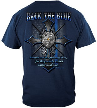 Back the Blue Matthew 5:9 Christian Shirt Premium T-Shirt - FREE Shipping!