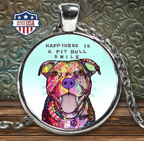 Pit Bull Shirt - Happiness Is A Pit Bull Smile Necklace