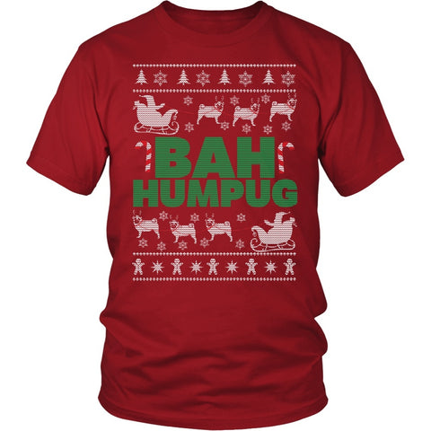 Pug Shirt - Bah HumPug Ugly Christmas Sweater Shirt