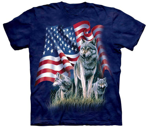 Wolf Shirt - Wolves American Flag
