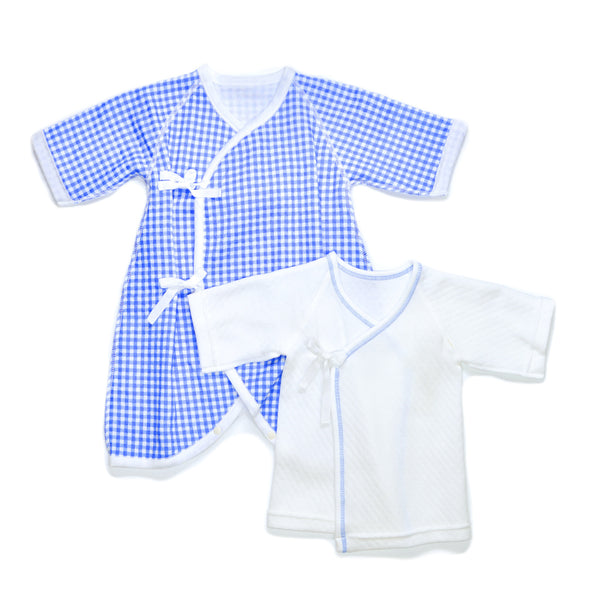 Classic snow flake/check yugata newborn set