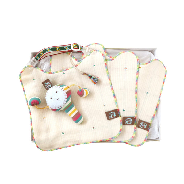 BOBO Multi rattle+Stitches bib gift set