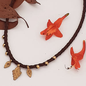 Brass Bindi Leather Necklace