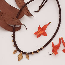 Load image into Gallery viewer, Brass Bindi Leather Necklace