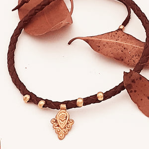 Brass Bindi Leather Anklet