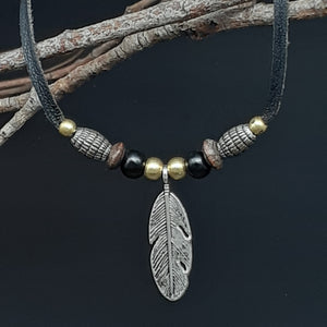Feather Charm Leather Necklace